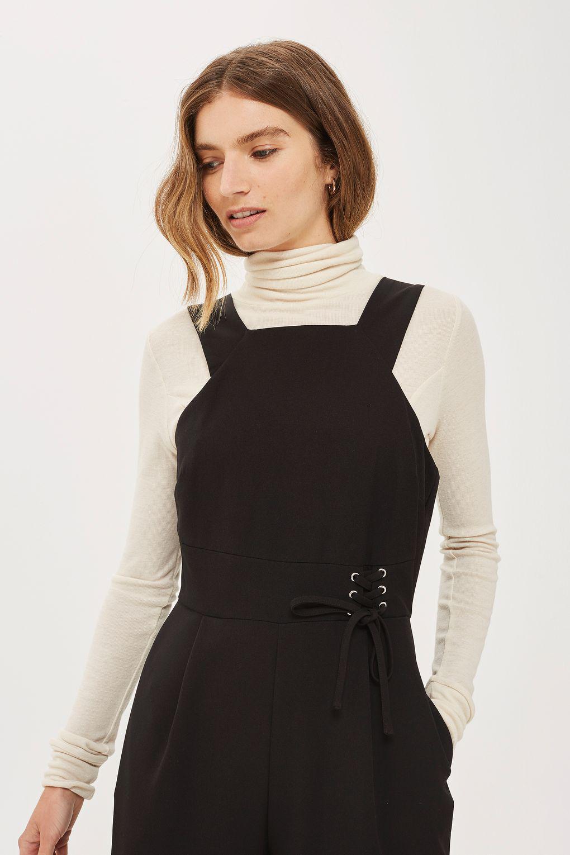 4b65c081860 TOPSHOP Petite Tie Side Jumpsuit in Black - Lyst