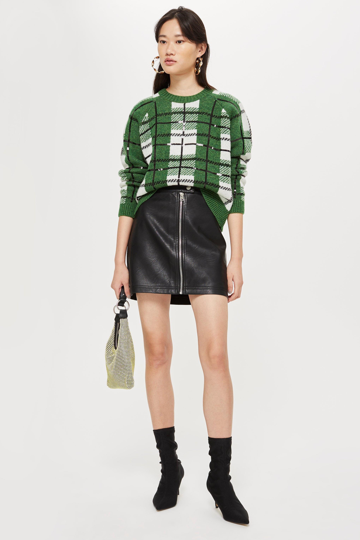 b852f031ff Lyst - TOPSHOP Tall Pu Mini Skirt in Black