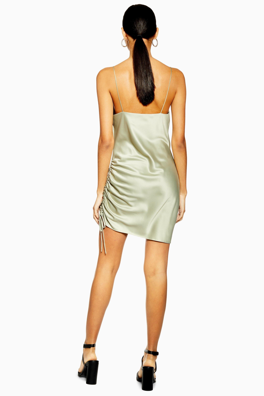 157fcab775bbc TOPSHOP - Multicolor Ruched Satin Mini Slip Dress - Lyst. View fullscreen