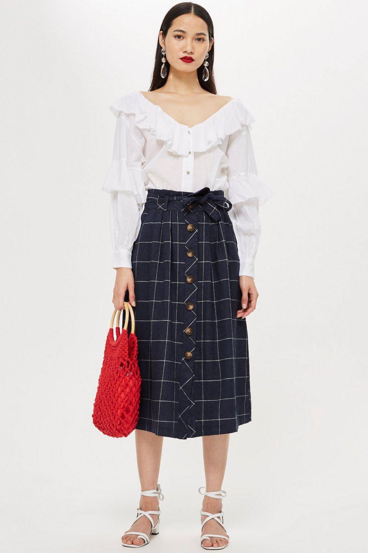 e01a4cda29 TOPSHOP Linen Check Midi Skirt in Blue - Lyst