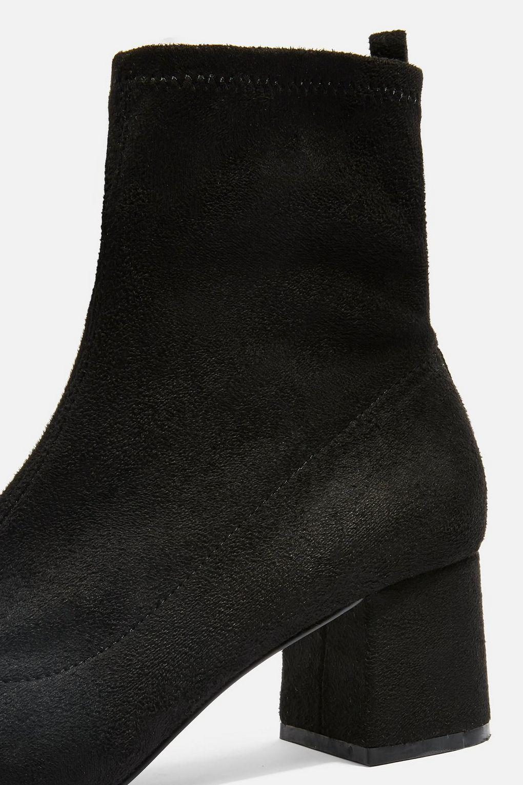 TOPSHOP Blossom Ring Back Boots in Black