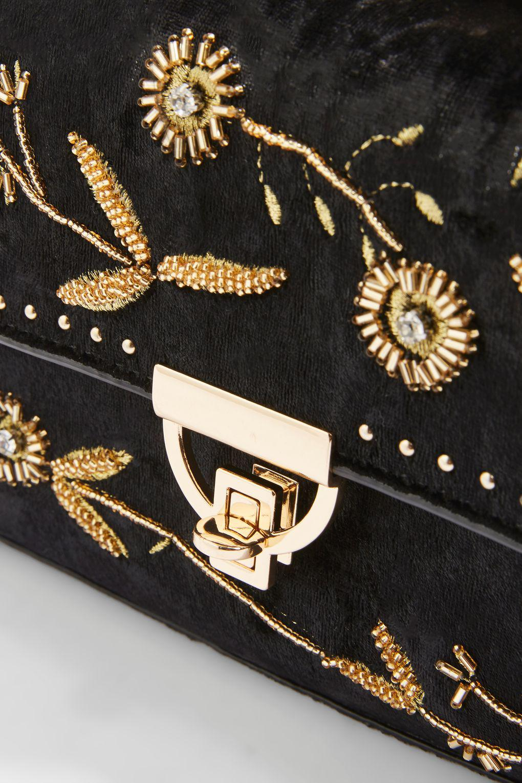TOPSHOP Beaded Chain Cross Body Bag in Black