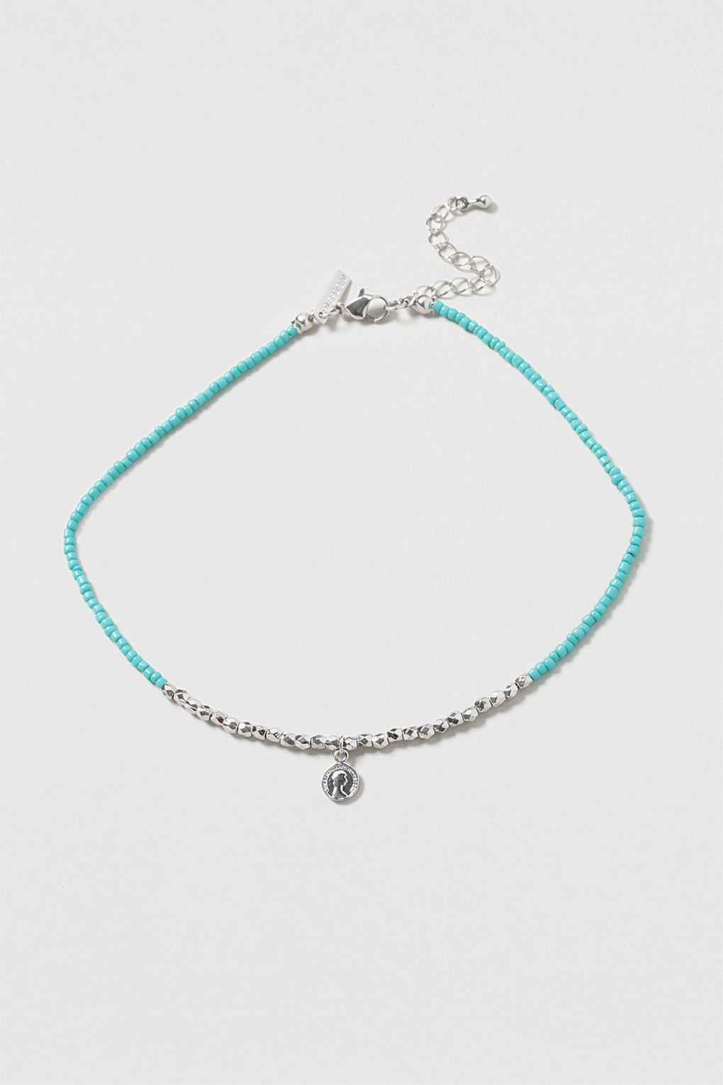 TOPSHOP Beaded Coin Choker in Turquoise (Metallic)