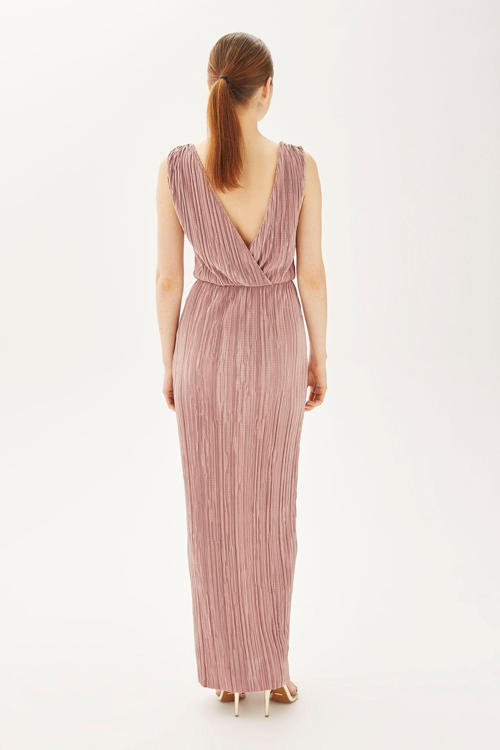 Oh My Love Synthetic Pleated Grecian Maxi Dress By in Mauve (Purple)