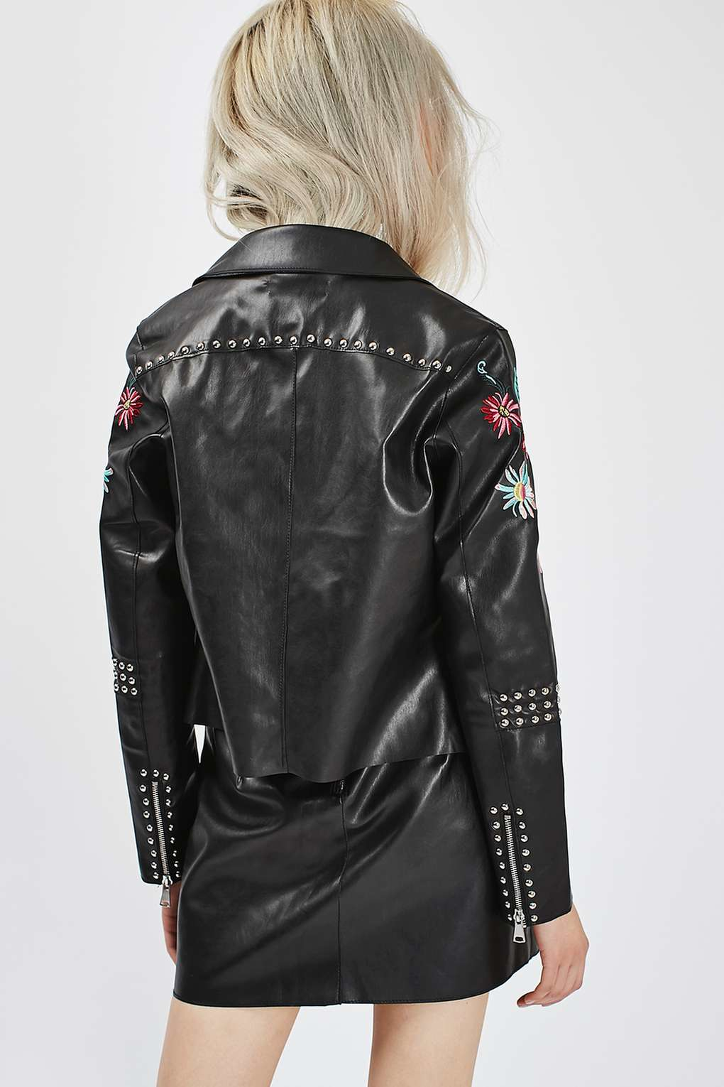 Glamorous Floral Embroidered Leather Jacket By In Black | Lyst