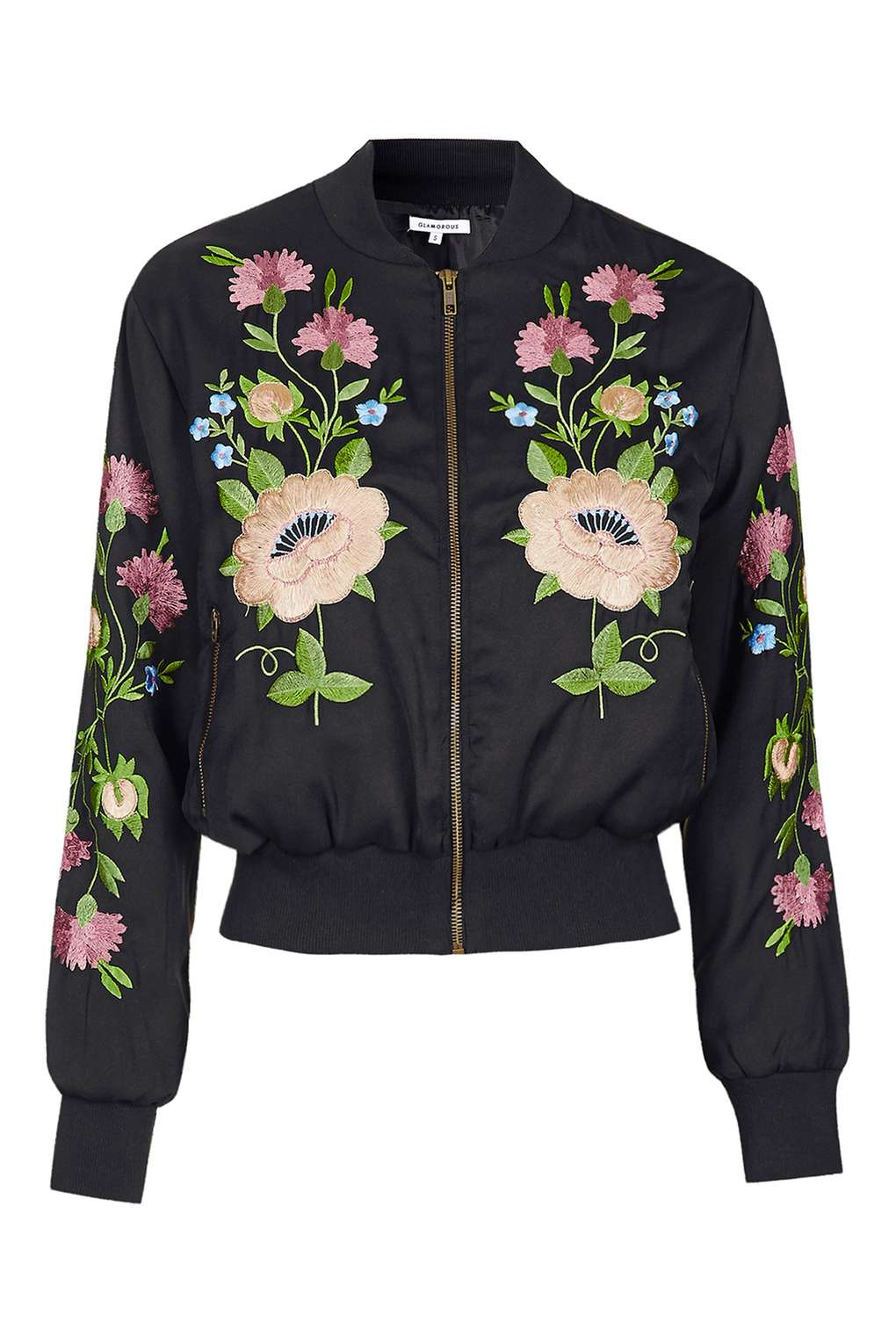 Topshop floral embroidered bomber jacket by glamorous in