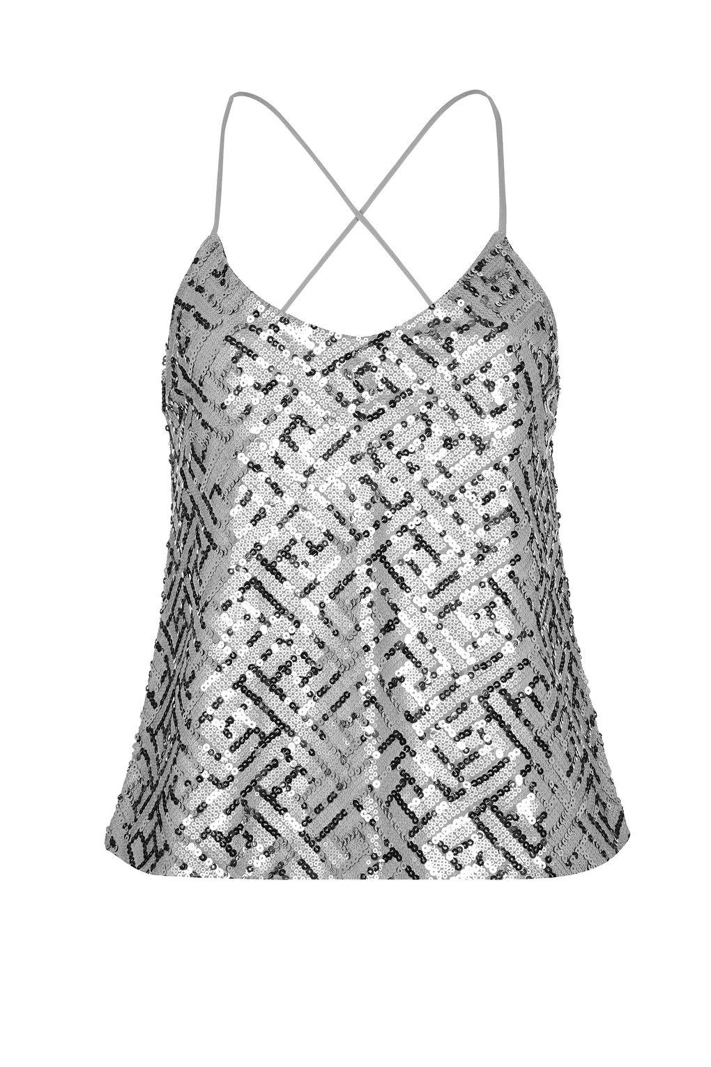 Lyst - Wyldr Wise Up Silver Sequin Camisole Top By in Metallic