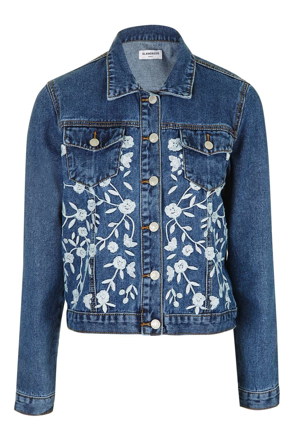 Topshop embroidered denim jacket by glamorous petites in