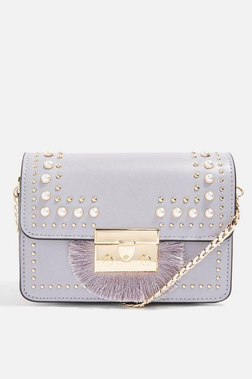TOPSHOP Leather Rosie Pearl Fringe Cross Body Bag in Lilac (Purple)