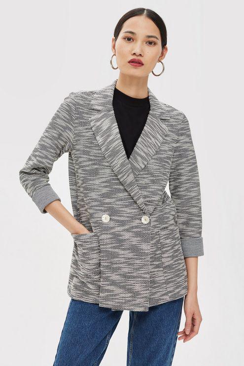 3729ba66feb TOPSHOP Jersey Boucle Jacket in Gray - Lyst