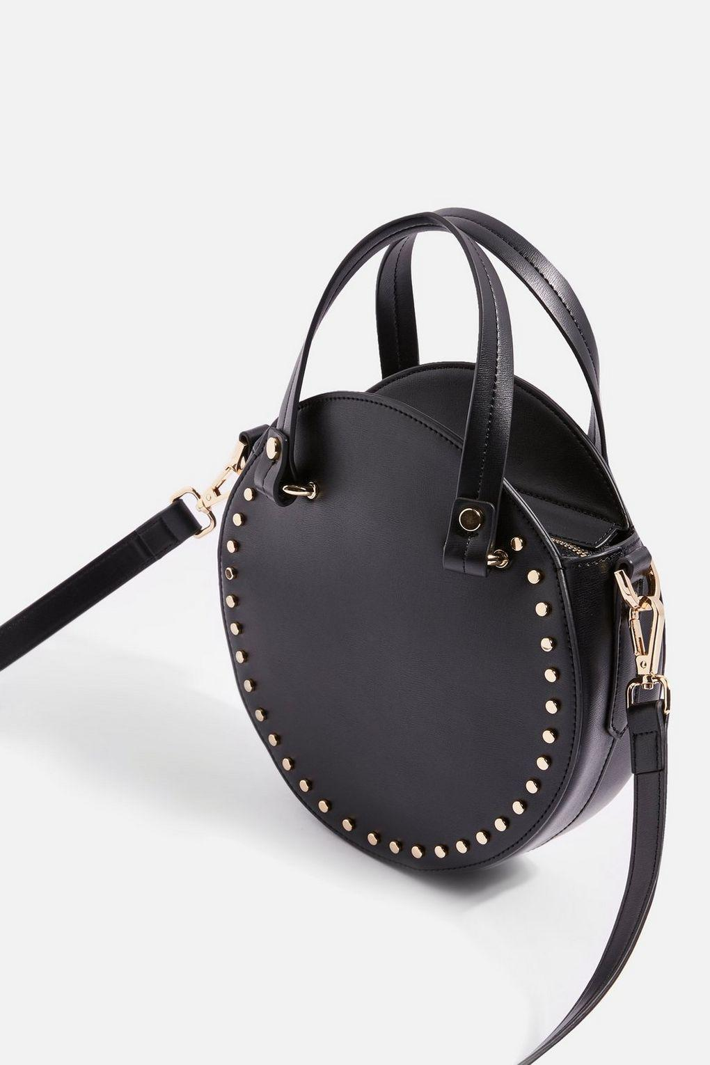 TOPSHOP Taylor Round Circle Studded Tote Bag in Black