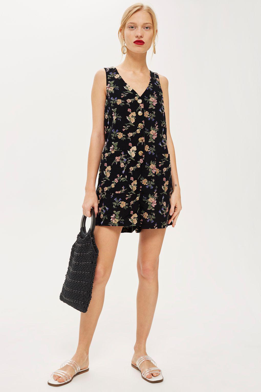 Topshop Womens Floral Pinafore Romper - Websites Sale Online Cheapest Online Outlet Discount Sale Cost Sale Online Pxkeuew