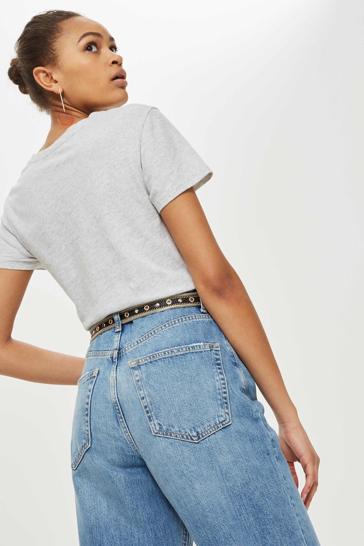 Mid Blue Cropped Wide Leg Jeans en Jean TOPSHOP