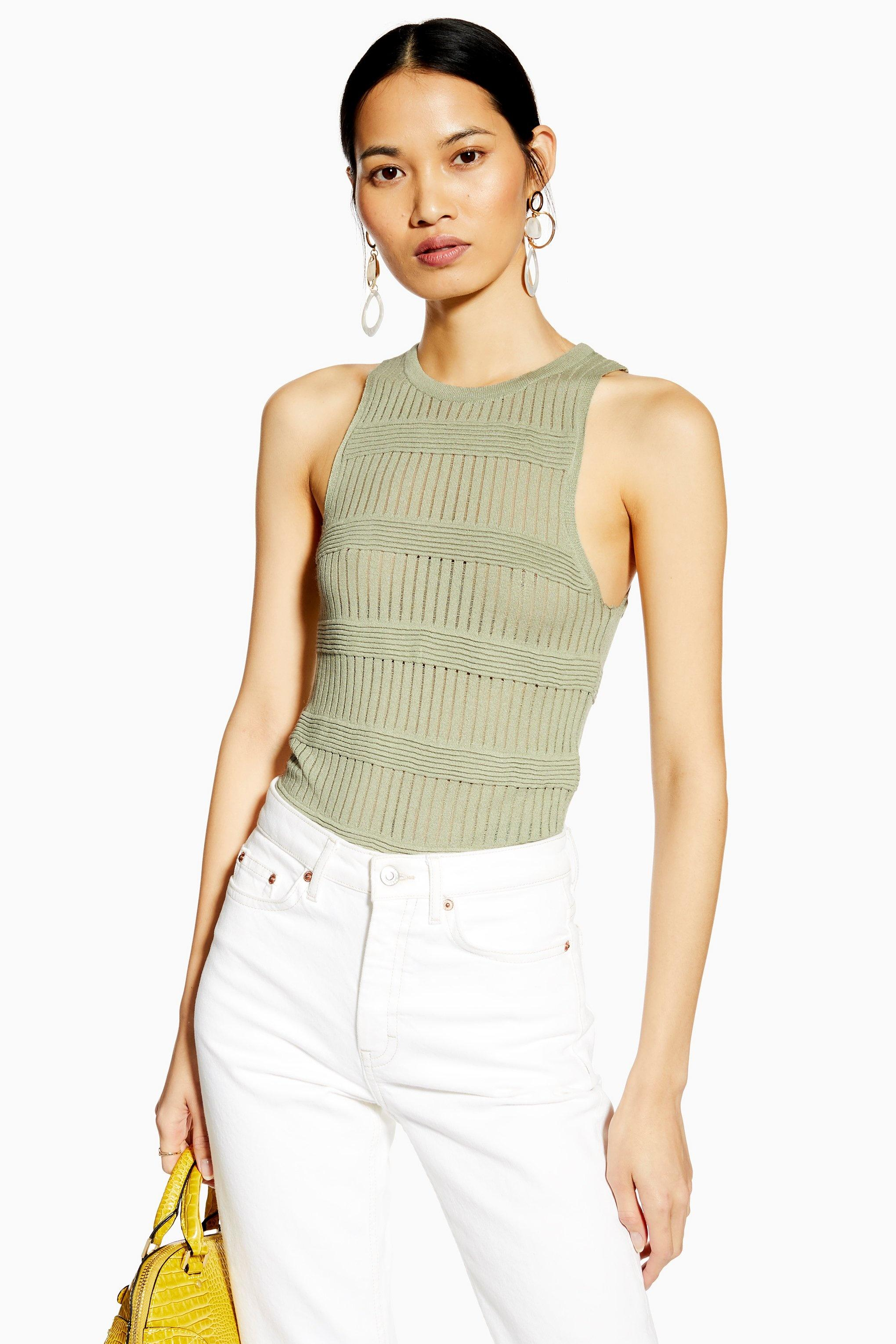 e24eed6f11e2a0 Lyst - TOPSHOP Ottoman Knitted Rib Tank Top in Green