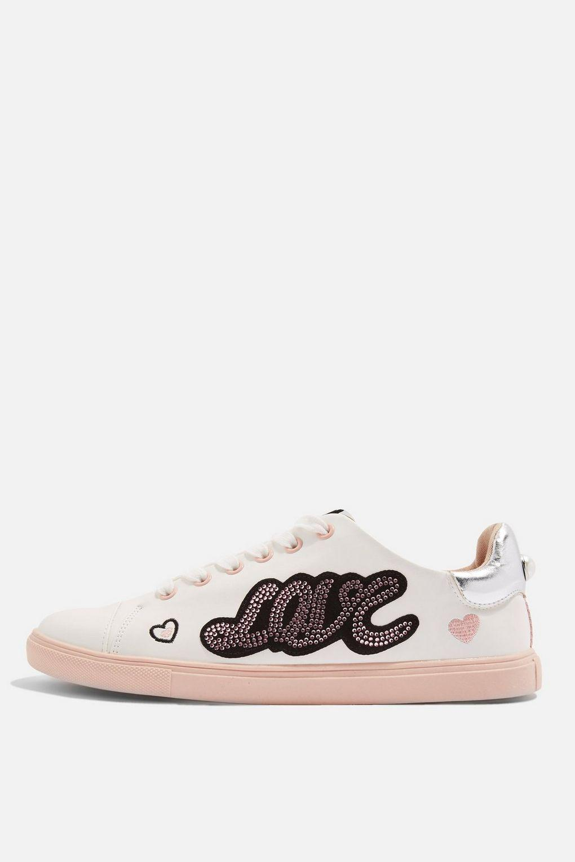 TOPSHOP Denim Cutie Slogan Sneakers in Pink
