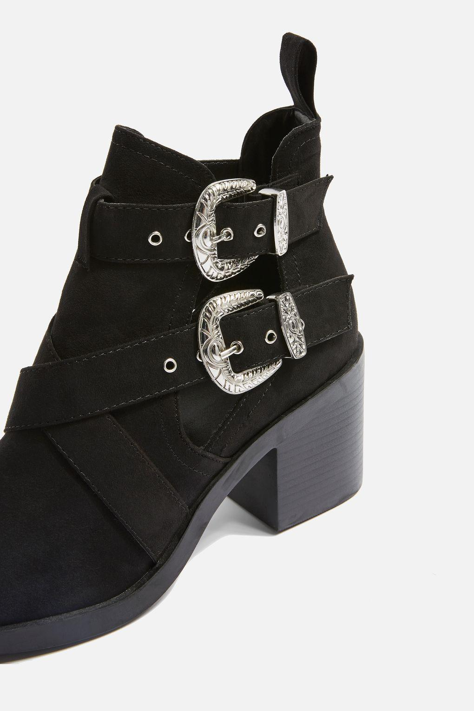TOPSHOP Blinder Buckle Heeled Boots in Black