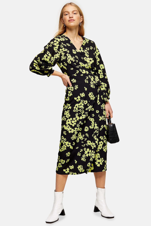 Robe portefeuille verte avec imprimé pâquerettes Synthétique TOPSHOP en coloris Vert