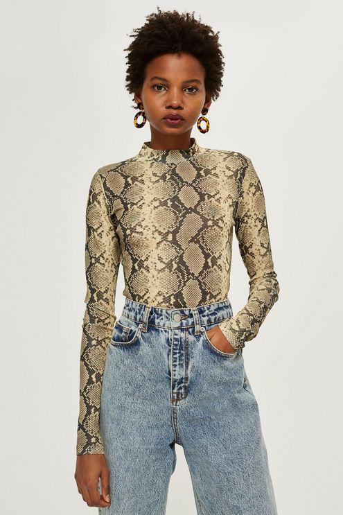 a16deb7fb1c1b TOPSHOP. Women s Petite Snake Print Long Sleeve Top