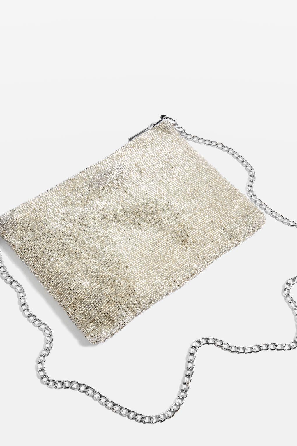 TOPSHOP Synthetic Beaded Cross Body Bag in White