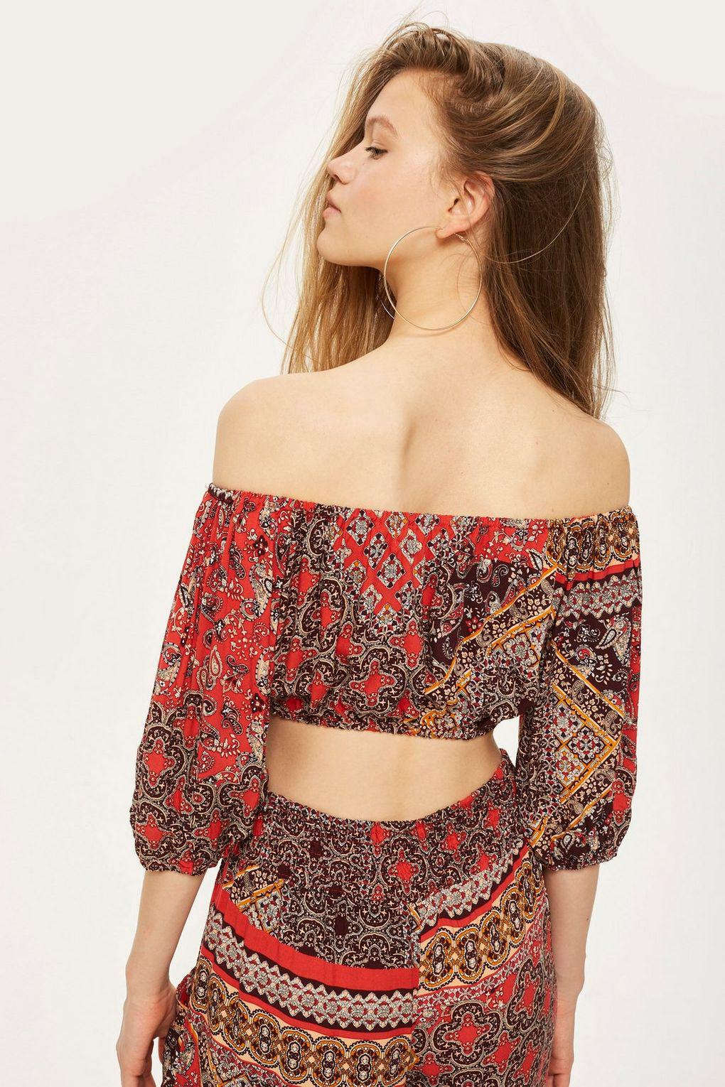 a356c867202622 Band Of Gypsies Tile Print Bardot Top By in Red - Lyst