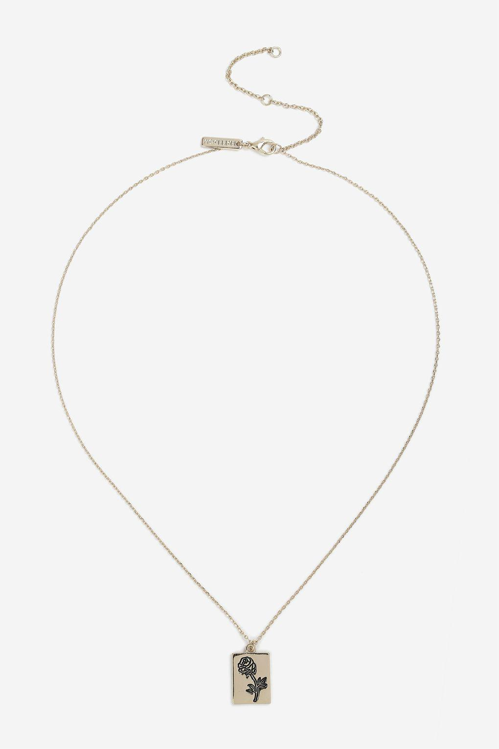 TOPSHOP Engraved Rose Pendant Ditsy Necklace in Gold (Metallic)