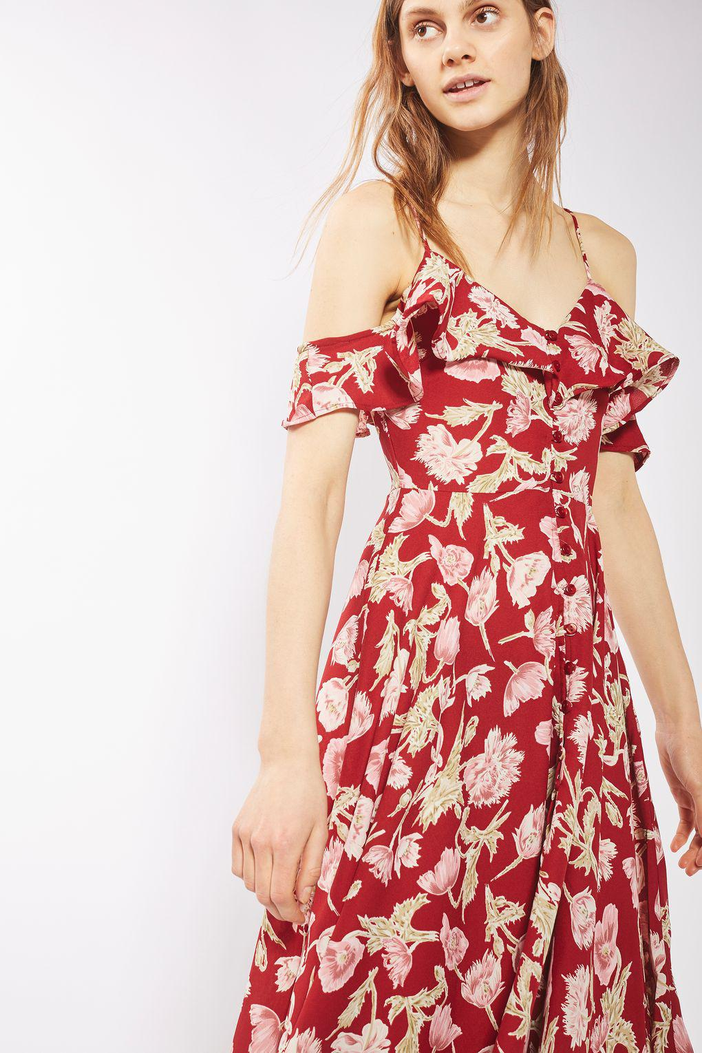 Lyst Topshop Hanky Hem Floral Dress In Red