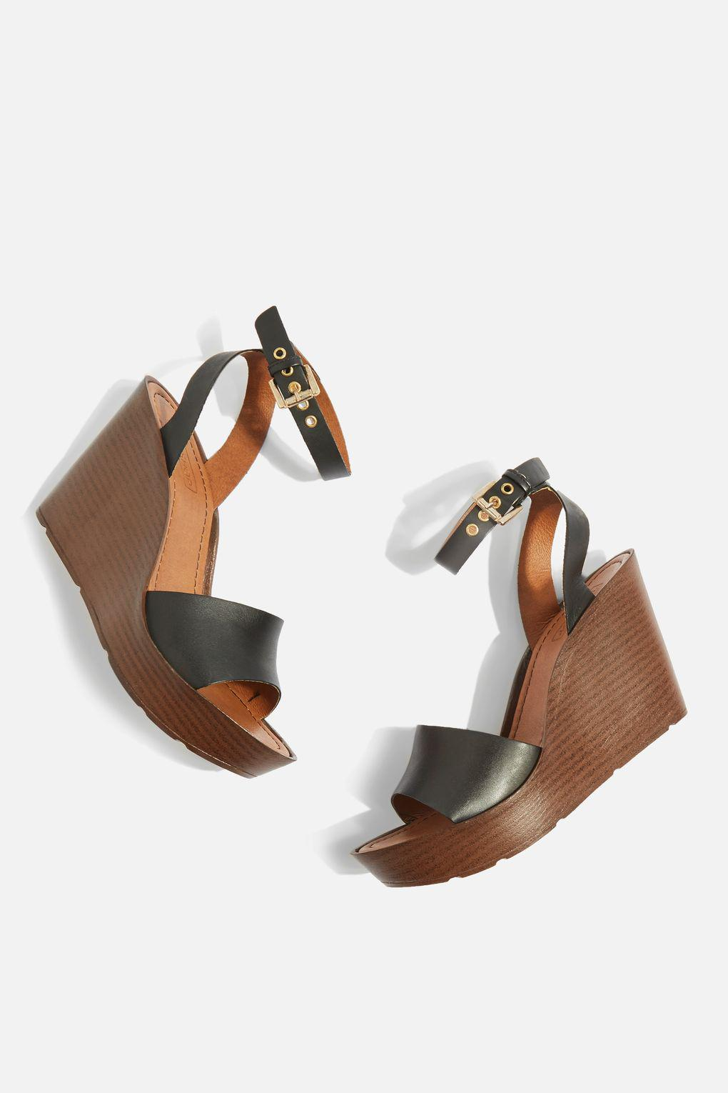 TOPSHOP Leather Watch Two Part Wedges