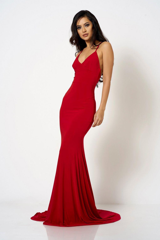 33d863a65c7f Club L Cross Back Fishtail Maxi Dress By London in Red - Lyst