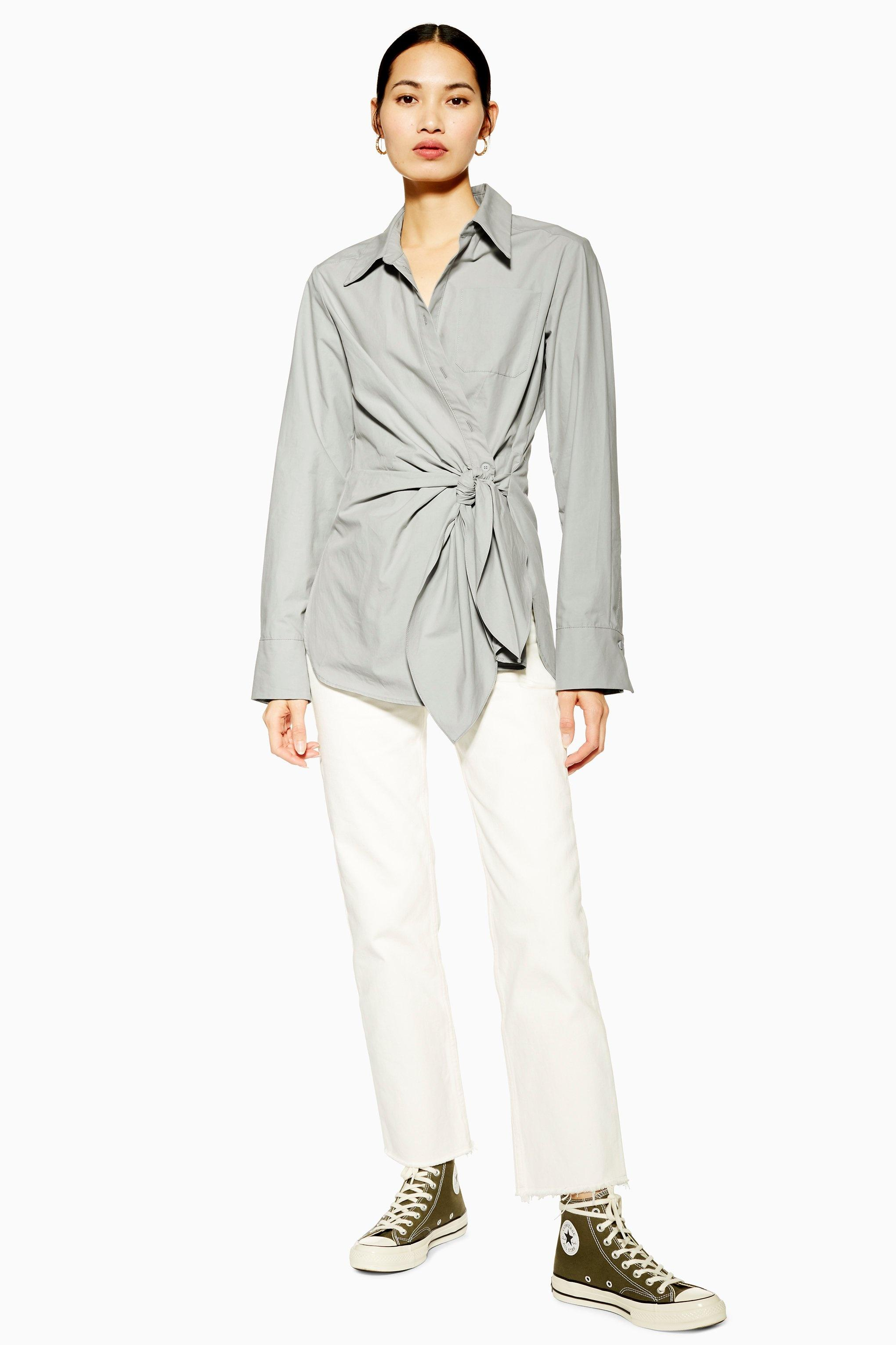 0191a0b0284f11 TOPSHOP - Gray Wrap Shirt By Boutique - Lyst. View fullscreen