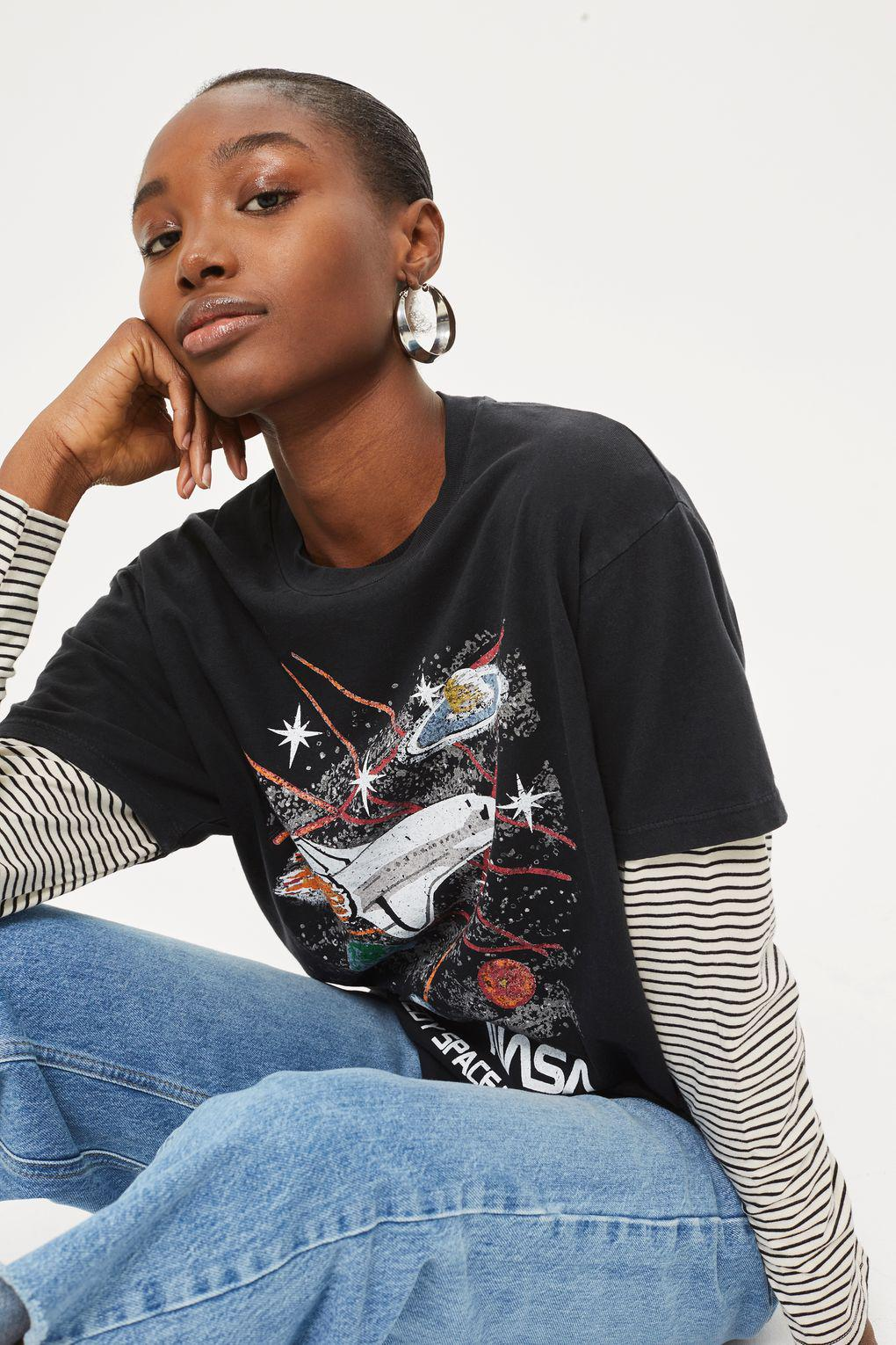 40d39898 TOPSHOP Nasa Kennedy Space T-shirt By Tee & Cake in Black - Lyst