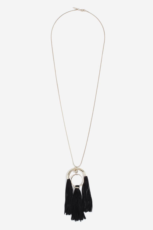 TOPSHOP Black Tassel Necklace