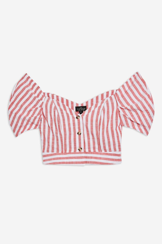 4f788cfa74c TOPSHOP Petite Stripe Puff Sleeve Bardot Top in Blue - Lyst