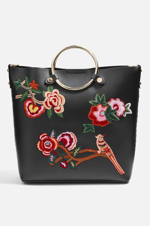 TOPSHOP Spring Floral Embroidered Tote Bag in Black