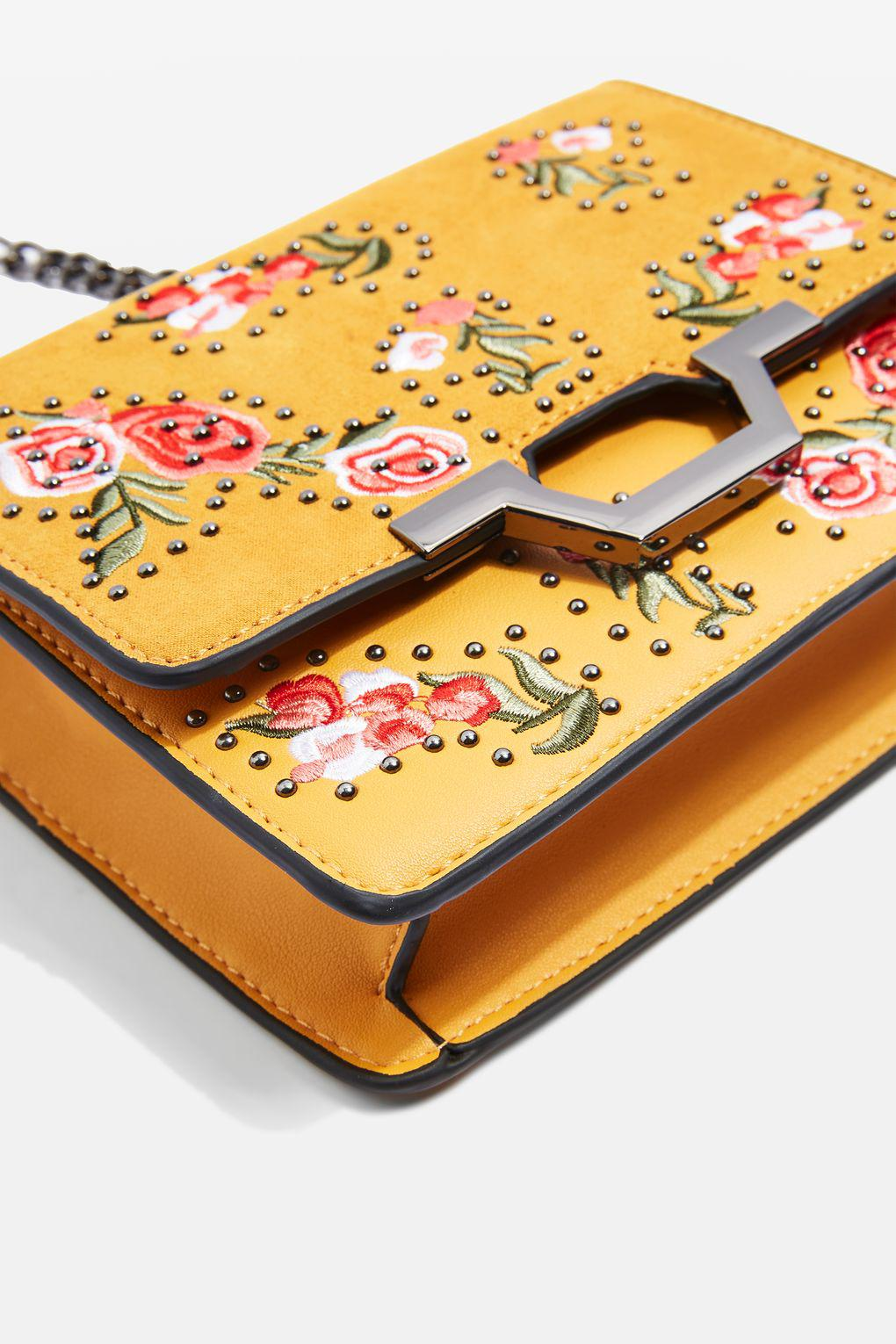 TOPSHOP Leather Floral Cross Body Bag