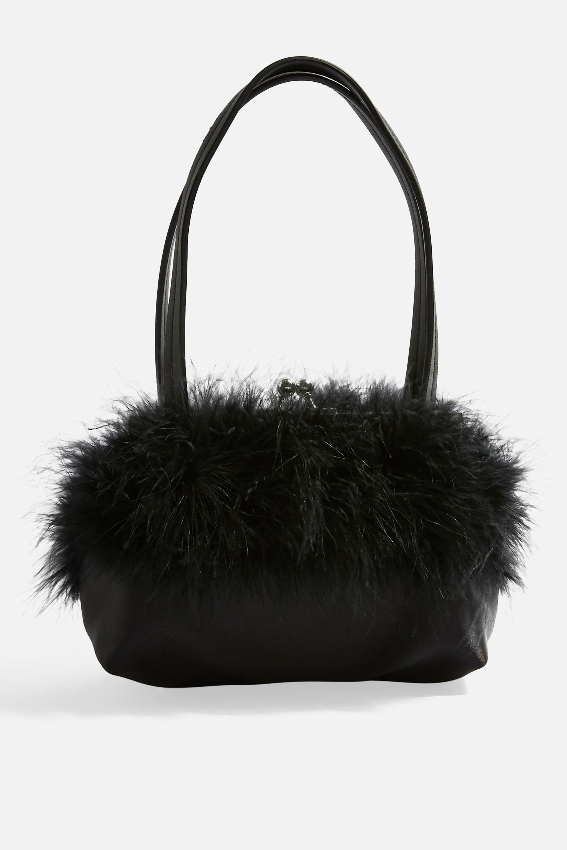 Lyst - Topshop Birdie Marabou Bag in Black ad1a5d54e596b