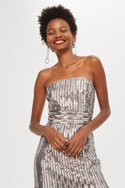 4472428b TOPSHOP Sequin Fringe Bandeau Dress in Metallic - Lyst