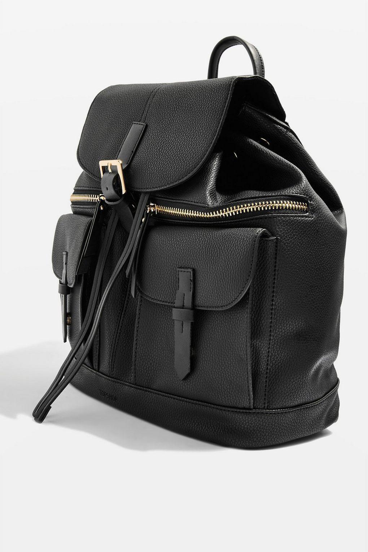 TOPSHOP Double Pocket Backpack in Black