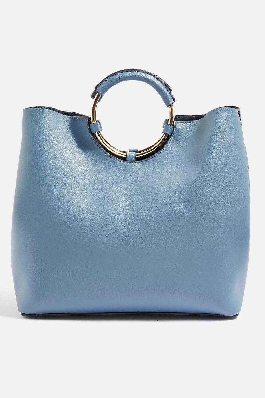 TOPSHOP Stef Metal Handle Tote Bag in Blue