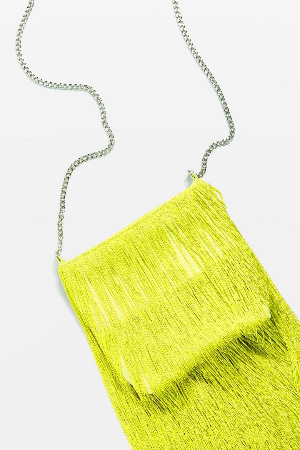 TOPSHOP Cotton Frill Fringe Cross Body Bag in Lime (Yellow)