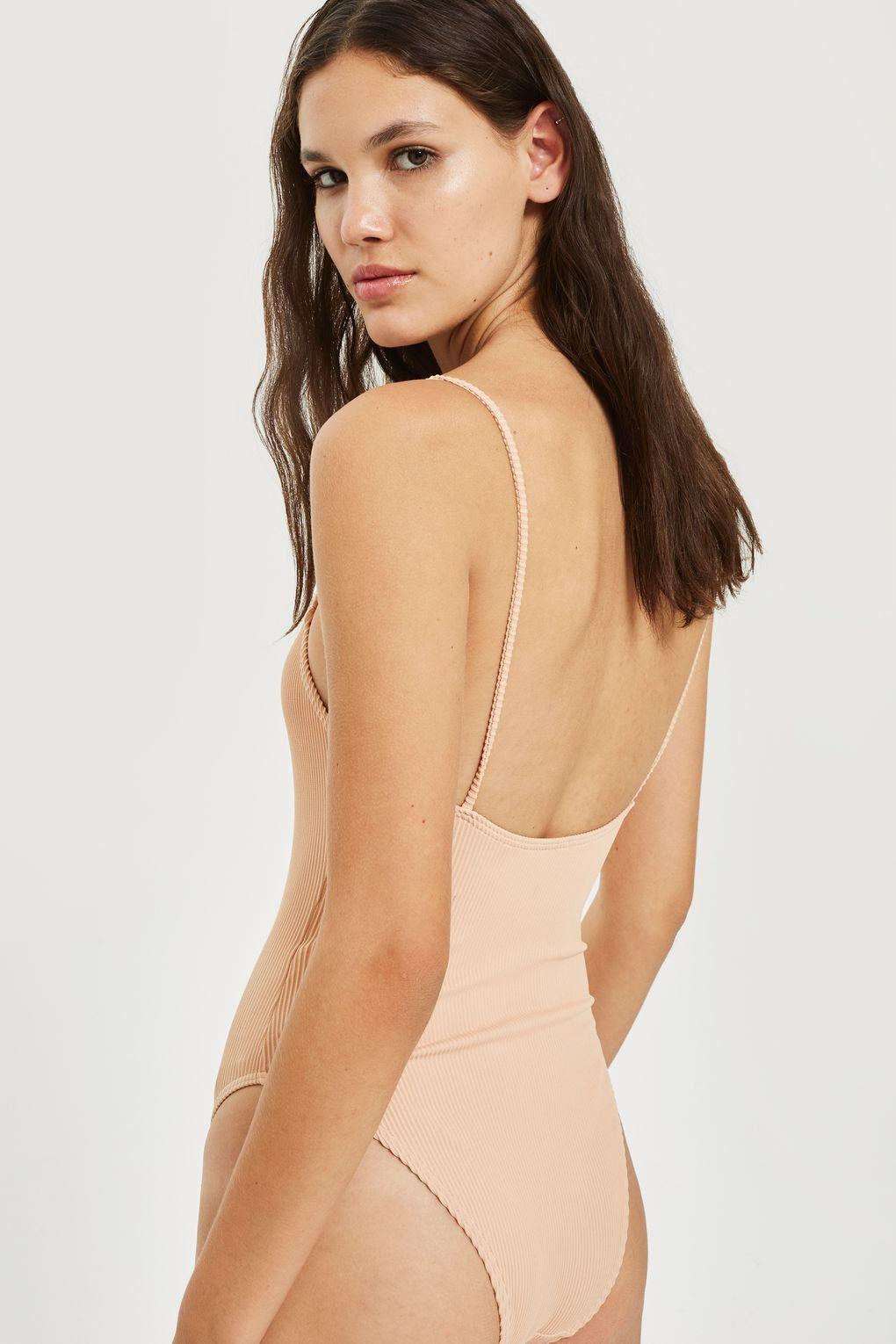 3ad98b78cd TOPSHOP Straight Neck Ribbed Swimsuit in Natural - Lyst