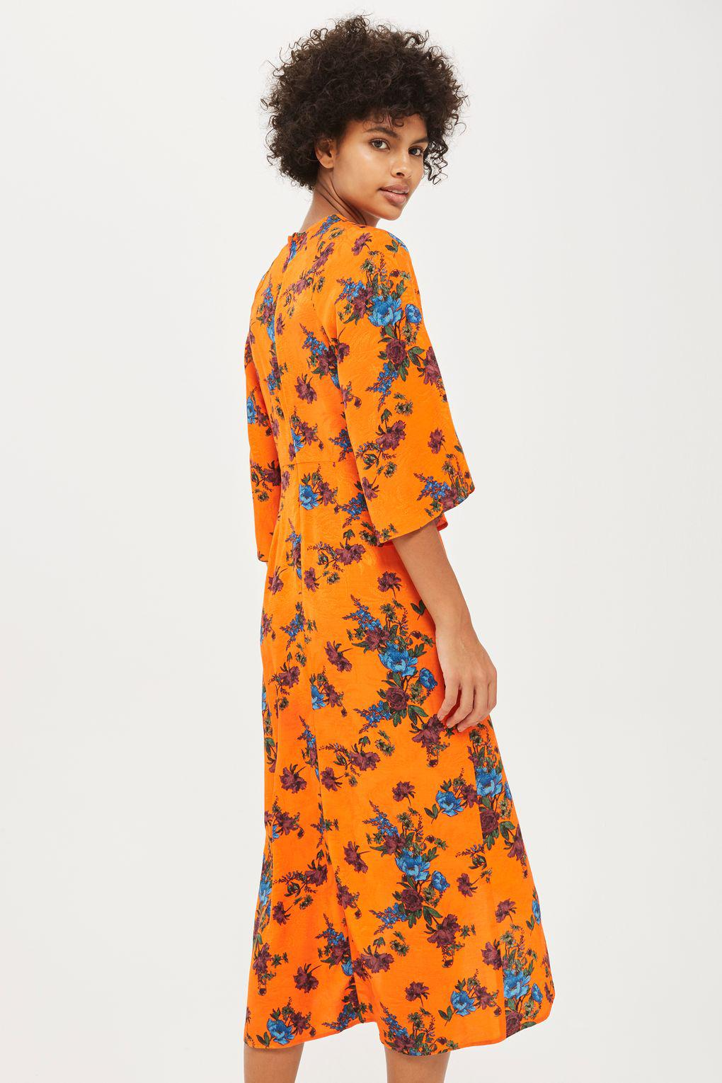 1bfb59686b TOPSHOP Floral Knot Front Midi Dress in Orange - Lyst