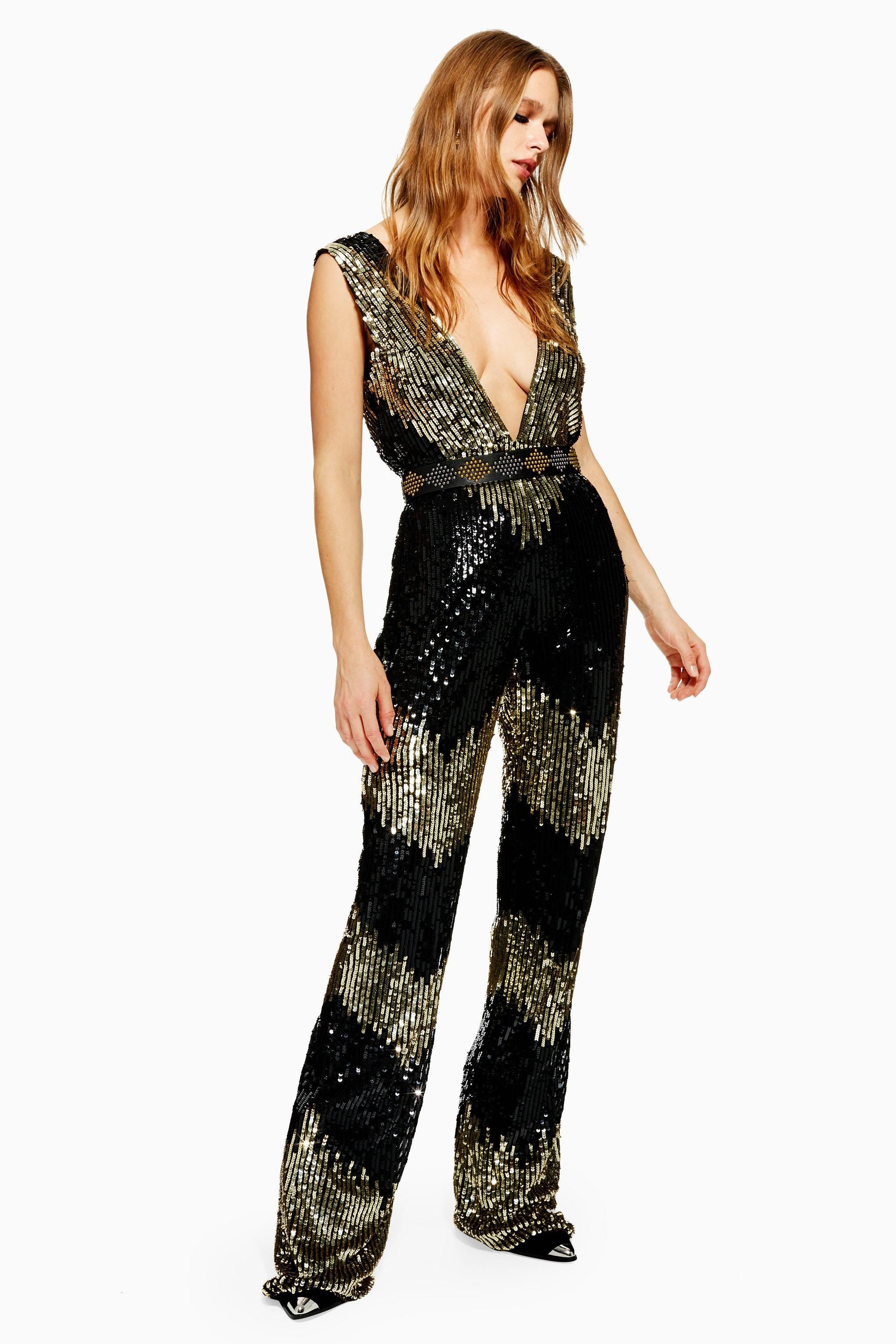 be6b7346cb1 Lyst - TOPSHOP Sequin Jumpsuit in Black