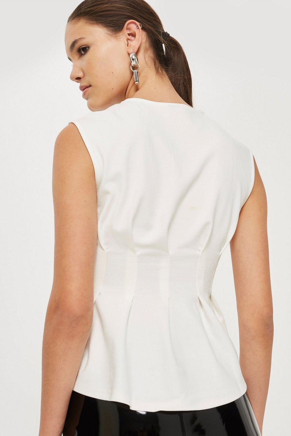TOPSHOP Synthetic Cinched Waist Sleeveless Top in Cream (White)