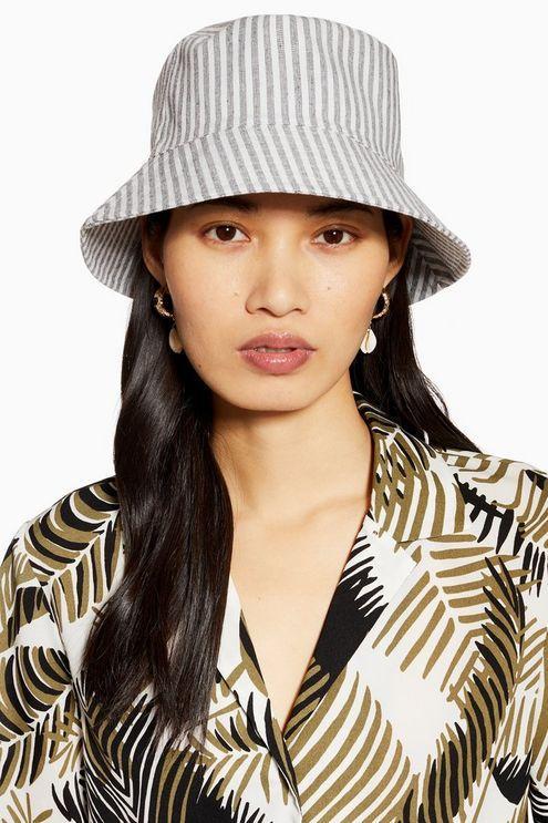 6b493a2e95b7a TOPSHOP Twill Stripe Bucket Hat - Lyst