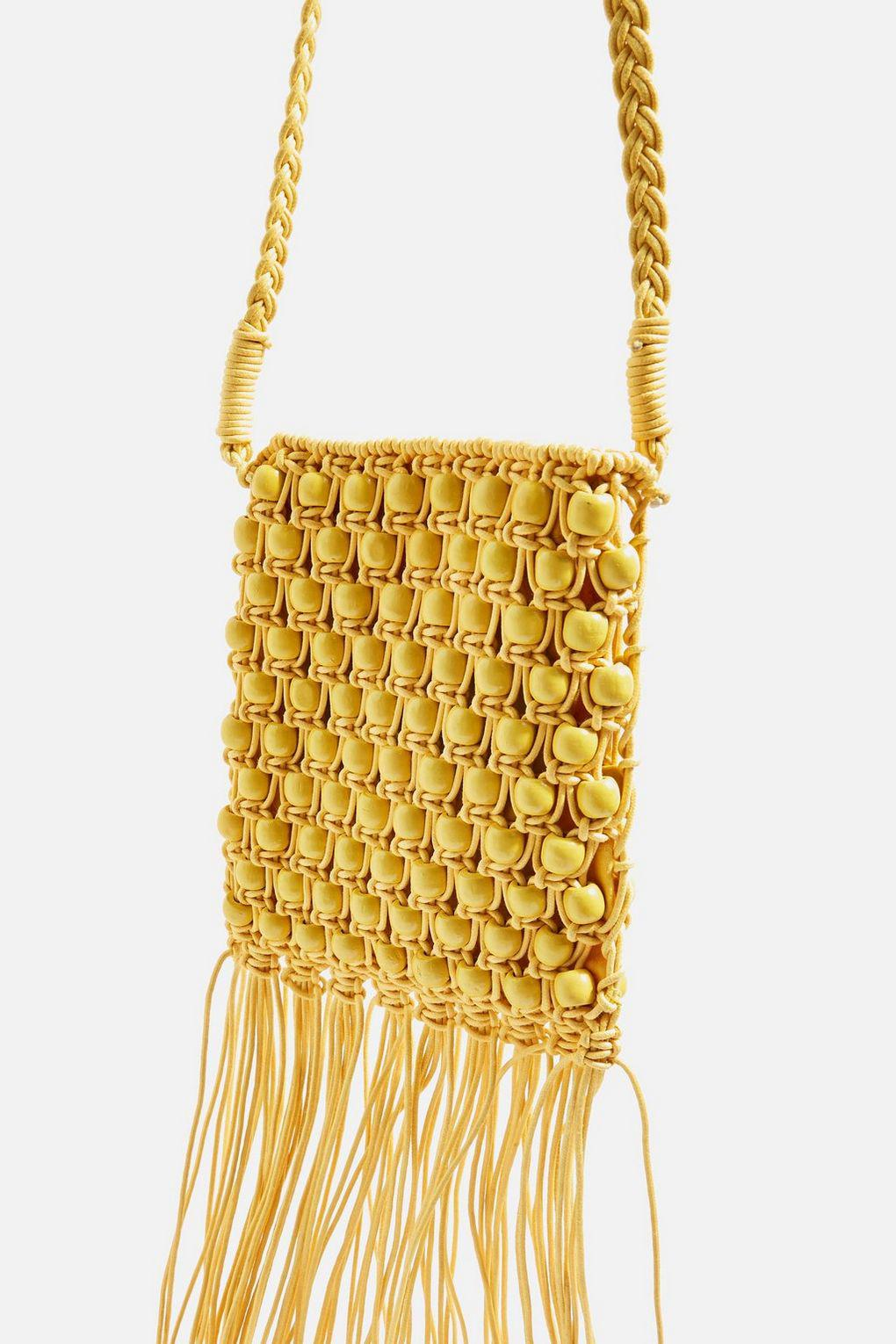 TOPSHOP Cotton Beaded Fringe Cross Body Bag in Yellow