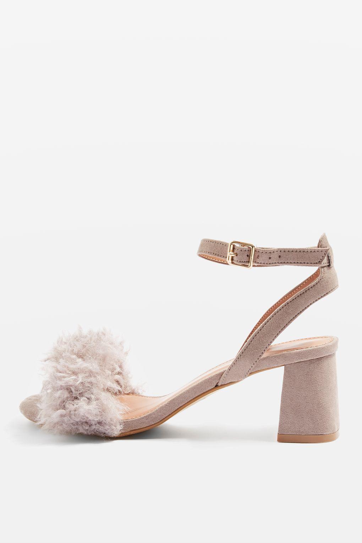 6c02070044 Lyst - TOPSHOP Doodle Faux Fur Mid Heel Sandals in Purple