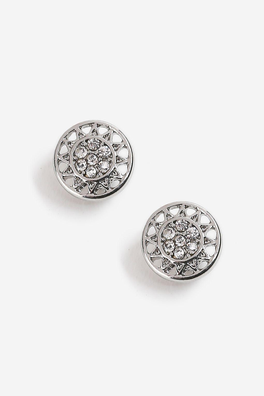 Featured Top Metallic Engraved Stud Earrings
