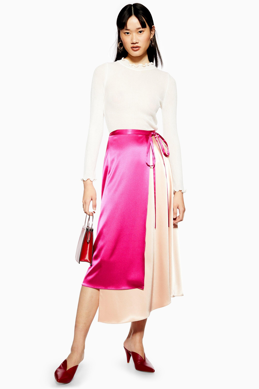 4d25ff37428 TOPSHOP Colour Block Satin Midi Skirt in Pink - Lyst