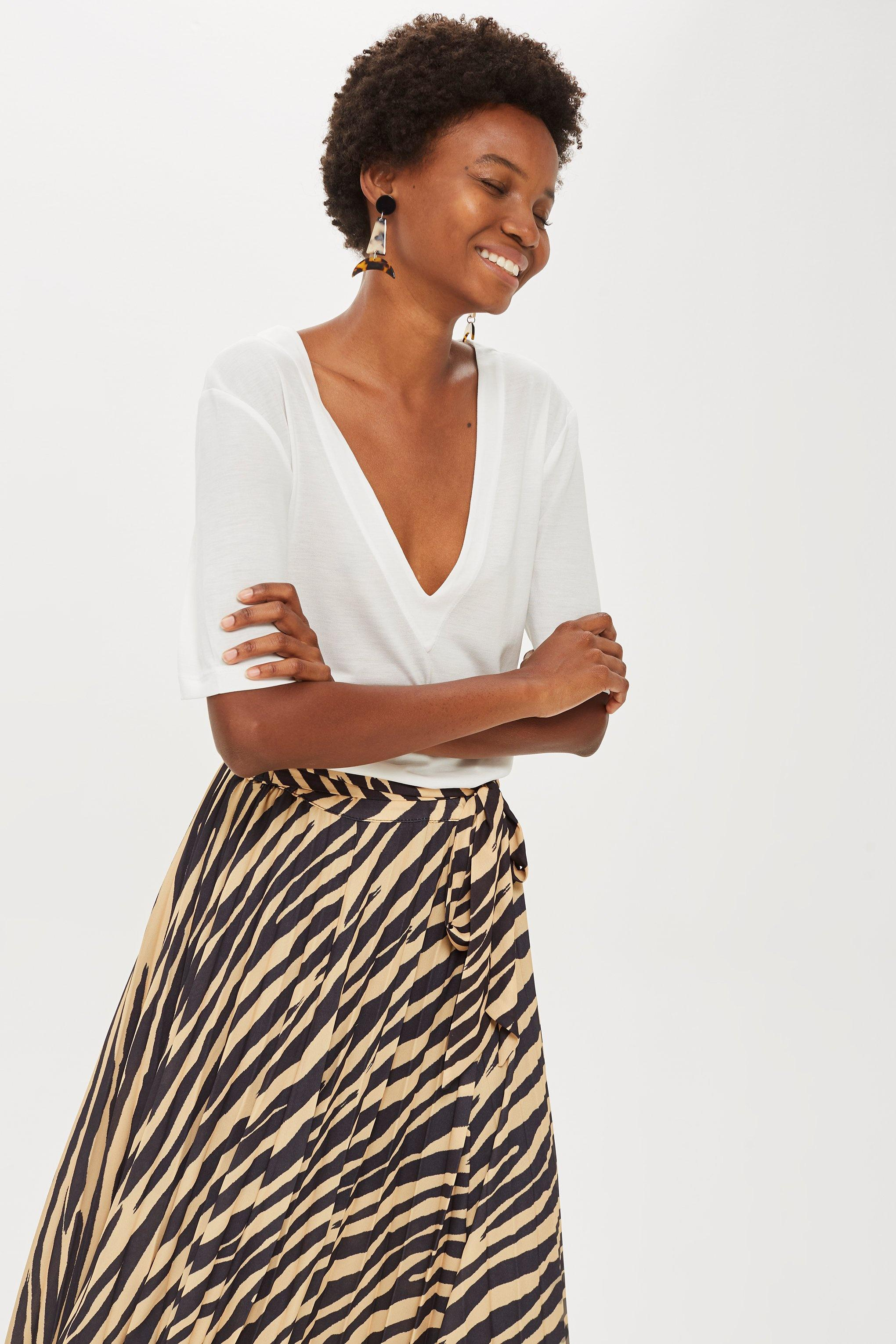 wholesale outlet clearance prices wholesale TOPSHOP Synthetic Zebra Print Pleated Midi Wrap Skirt - Lyst