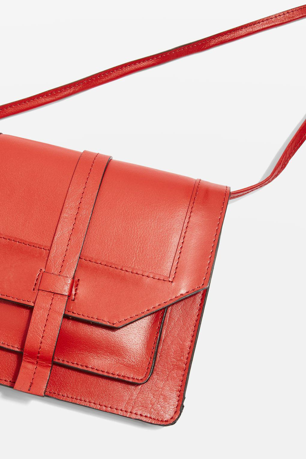 TOPSHOP Leather Anita Cross Body Bag in Red